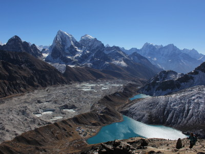 View of Gokyo and mountains from the summit of Gokyo Ri in Nepal