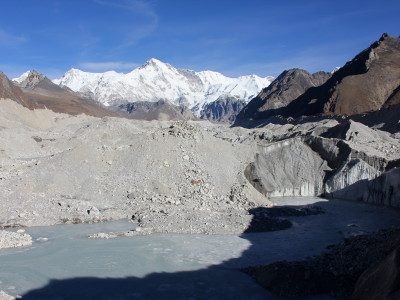 View of Cho Oyu on the Ngozumpa Glacier in Nepal