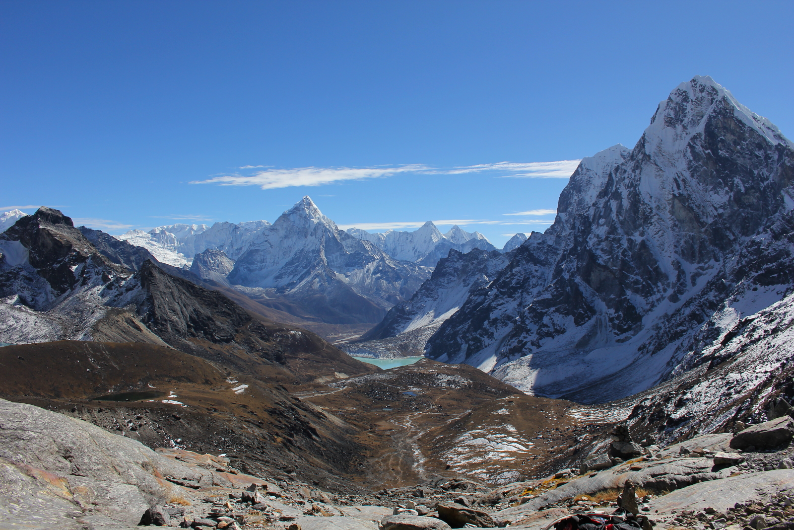 View of Taboche and Ama Dablam from the Cho La Pass in Nepal