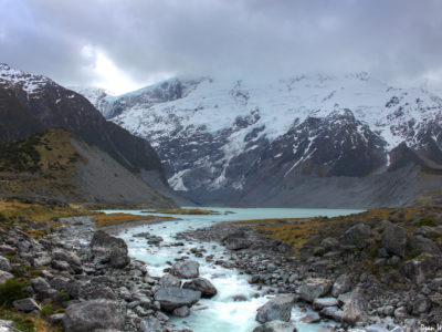 Mueller Glacier Lake in New Zealand