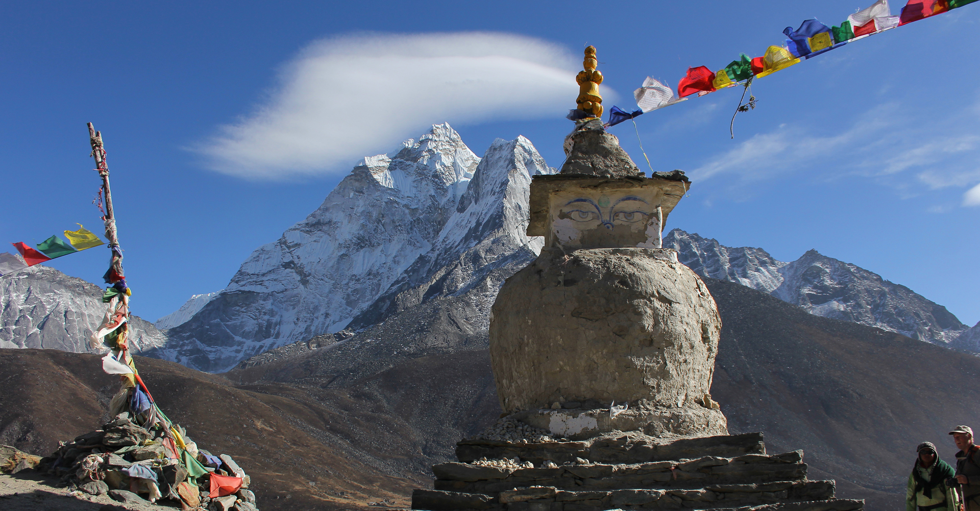 Chorten and view of Ama Dablam above Dingboche in Nepal