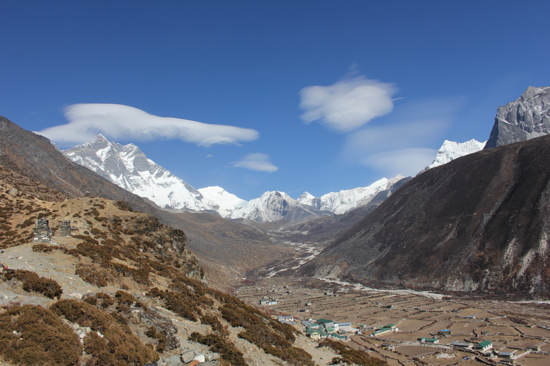 View up the valley to Island Peak in Dingboche, Nepal