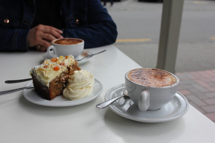 Coffee and cake in Arrowtown, New Zealand